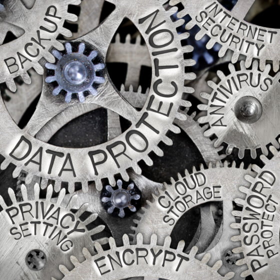 Data protection cogs signifying data and systems protection