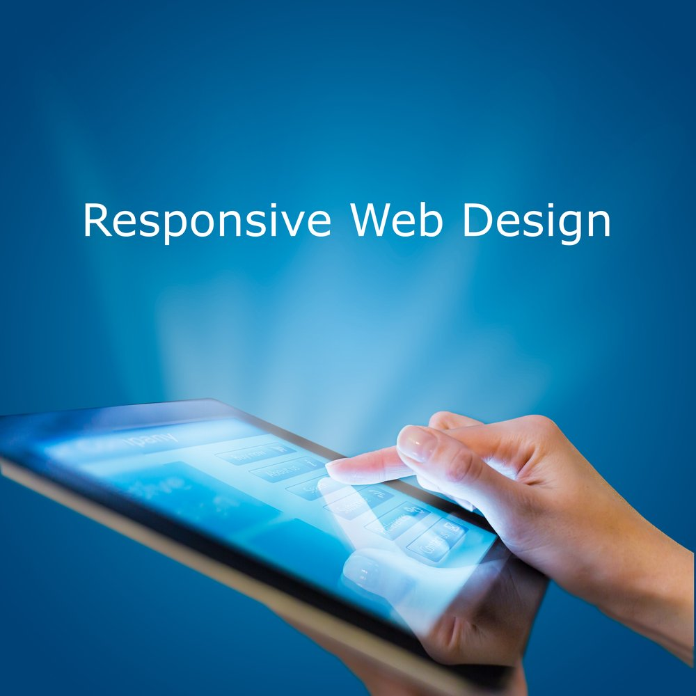 """Image with the words """"responsive web design"""" showing above a tablet pc"""